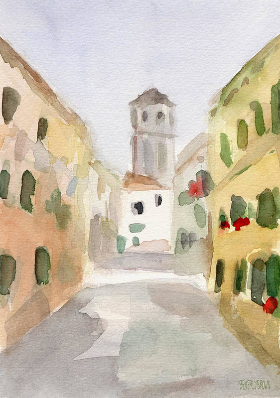 Yellow Poster featuring the painting Geraniums Cannaregio Watercolor Painting Of Venice Italy by Beverly Brown Prints