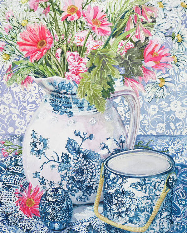 Blue And White Poster featuring the painting Gerberas In A Coalport Jug With Blue Pots by Joan Thewsey