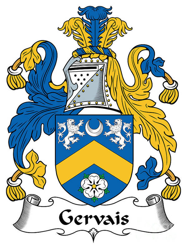 Gervais Poster featuring the digital art Gervais Coat Of Arms Irish by Heraldry