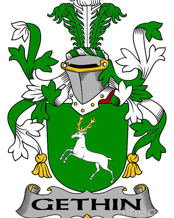 Gethin Poster featuring the digital art Gethin Coat Of Arms Irish by Heraldry