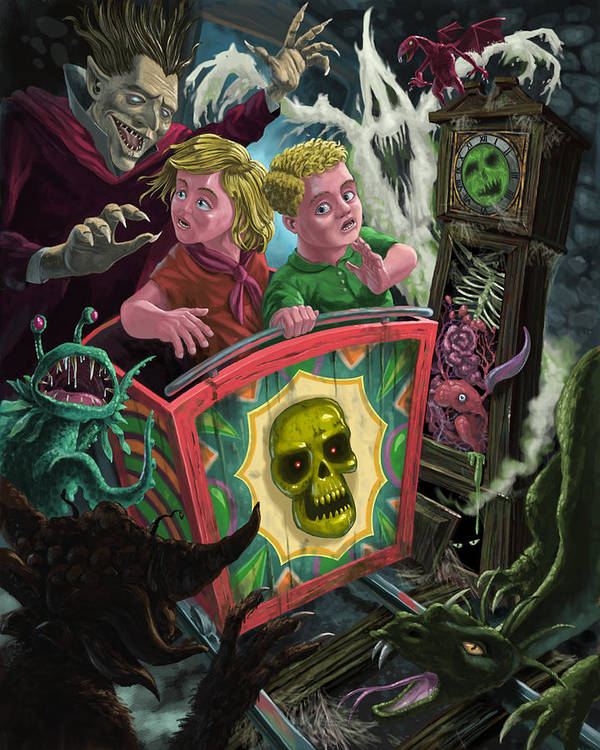 Fun Fair Ride Poster featuring the painting Ghost Train Fun Fair Kids by Martin Davey