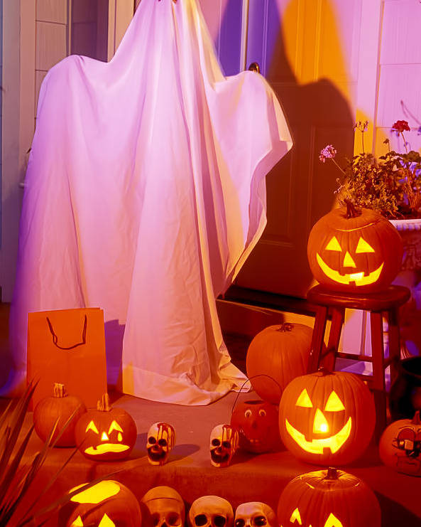 Ghost Poster featuring the photograph Ghost With Pumpkins by Garry Gay
