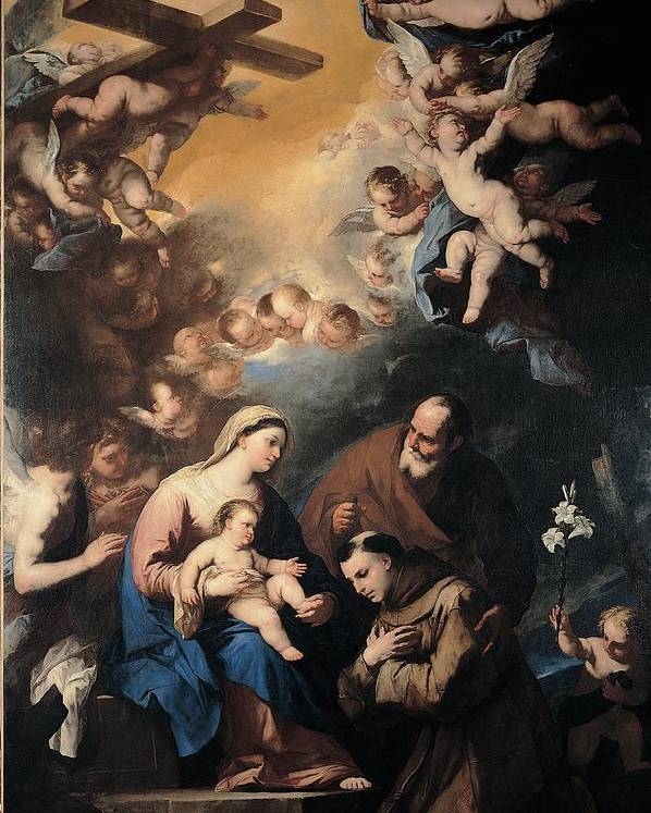 Holy Poster featuring the photograph Giordano Luca, Holy Family Venerated by Everett