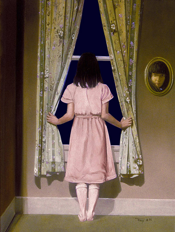 Girl At Window Poster featuring the painting Girl At The Window by Robert Tracy
