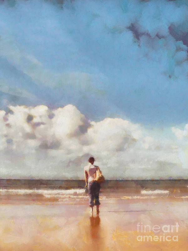Impressionist Poster featuring the painting Girl On Beach by Pixel Chimp