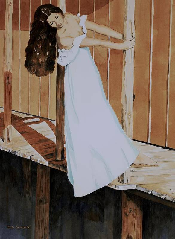 Girl On Dock Poster featuring the painting Girl On Dock by Judy Swerlick