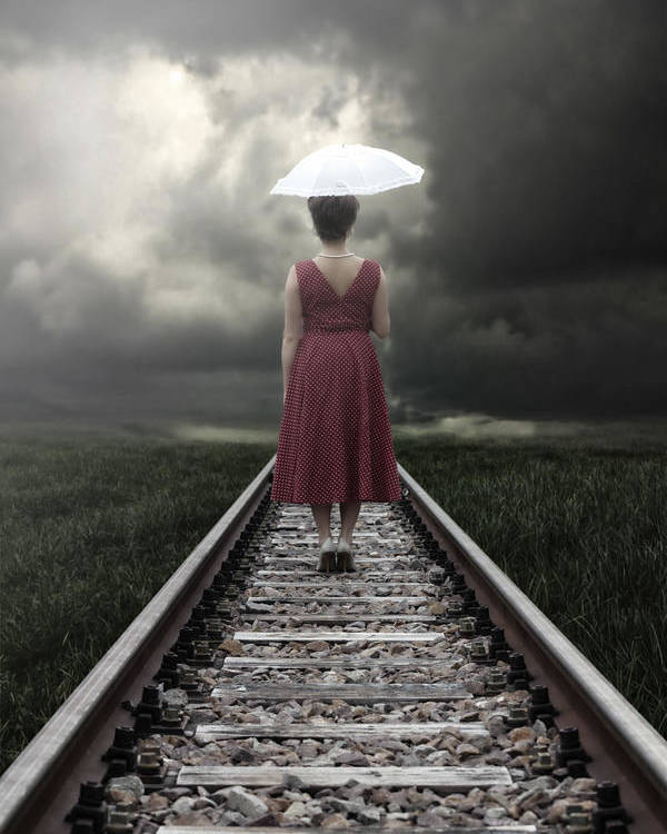 Woman Poster featuring the photograph Girl On Tracks by Joana Kruse