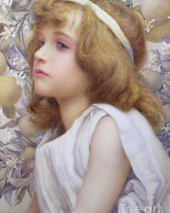 Child Poster featuring the painting Girl With Apple Blossom by Henry Ryland
