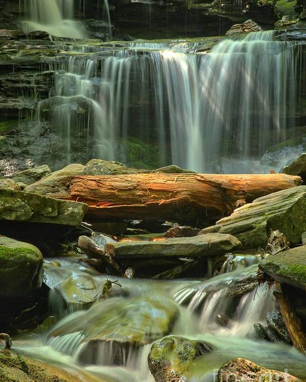 Ricketts Glen Waterfalls Poster featuring the photograph Glen Leigh River Rocks And Falls by Adam Jewell