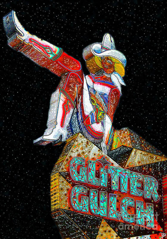 Art Poster featuring the painting Glitter Gulch Girl by David Lee Thompson