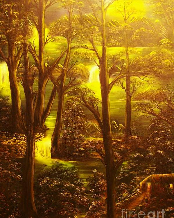 Path Poster featuring the painting Glowing Evening Falls-original Sold- Buy Giclee Print Nr 28 Of Limited Edition Of 40 Prints  by Eddie Michael Beck