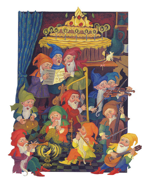 Gnomes Poster featuring the painting Gnomes by Tatiana Lyskova