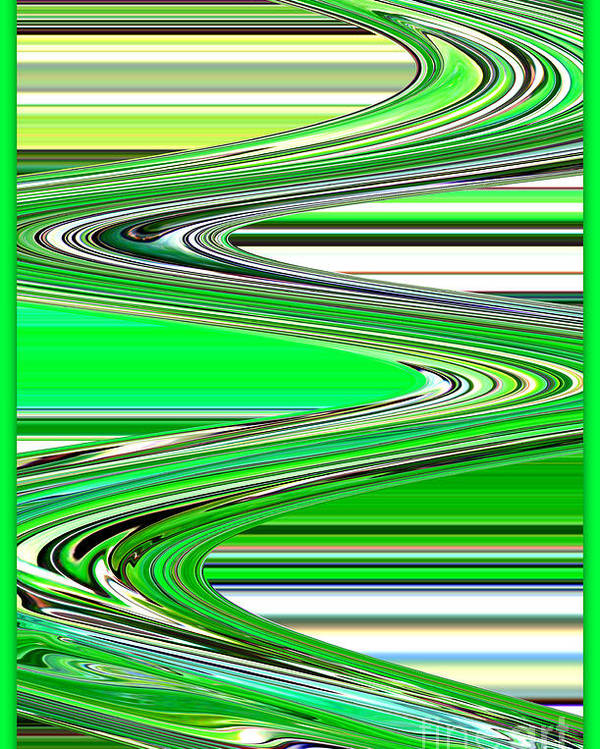 Green Abstract Poster featuring the photograph Go With The Flow by Carol Groenen