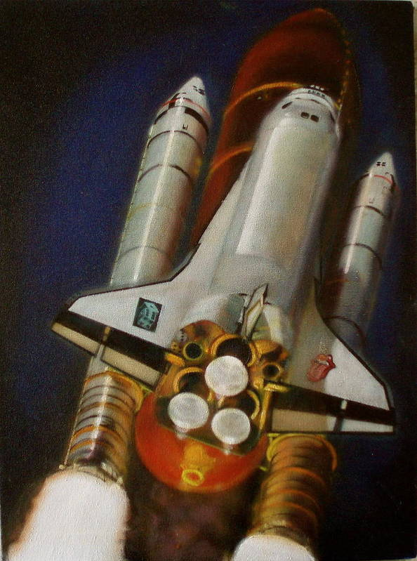 Space Shuttle;launch;liftoff;blastoff;rockets;engines;astronauts;spaceart;nasa;photorealism Poster featuring the painting God Plays Dice by Sean Connolly