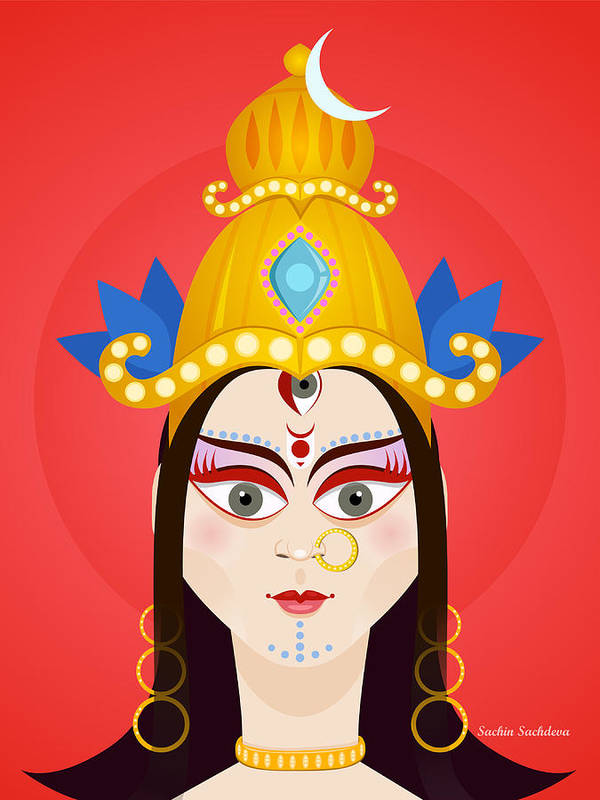Durga Poster featuring the digital art Goddess Maa Durga by Sachin Sachdeva