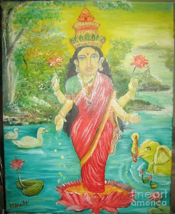 Hinuism Poster featuring the painting Goddess Mahalaxmi by M Bhatt