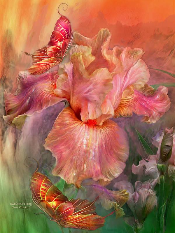 Iris Poster featuring the mixed media Goddess Of Spring by Carol Cavalaris