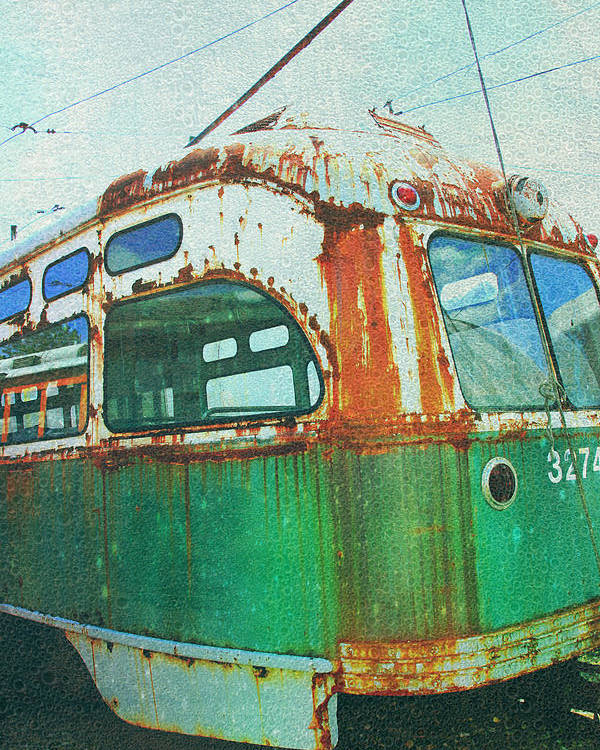 Green Trolley Poster featuring the photograph Going Green by Sheryl Bergman