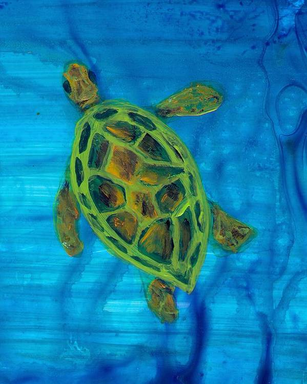 Turtle Poster featuring the painting Going Up For Air by Wanda Pepin