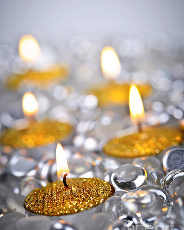 Candles Poster featuring the photograph Gold Christmas Candles by Elena Elisseeva