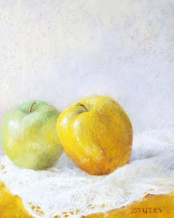 Still Life Poster featuring the painting Golden Apple by Nancy Stutes