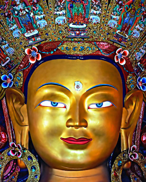 Buddhism Poster featuring the photograph Golden Buddha by Steve Harrington