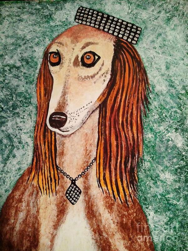 Paintings Poster featuring the painting Golden Dog by Jasna Gopic