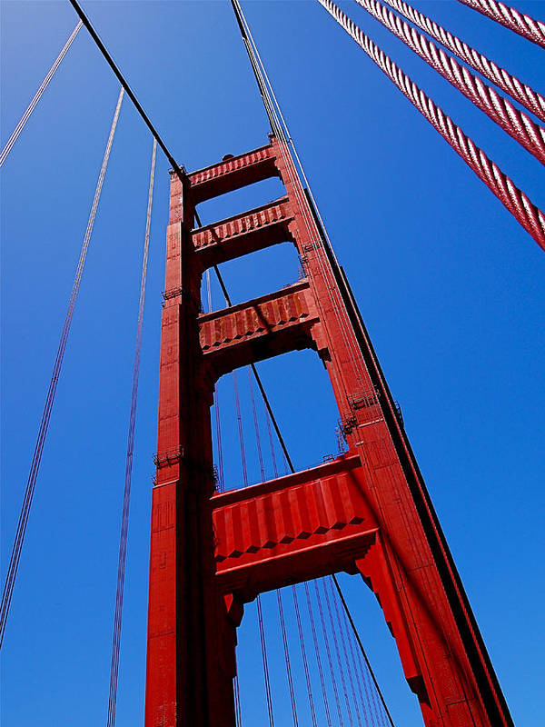 Golden Gate Bridge Poster featuring the photograph Golden Gate Tower by Rona Black