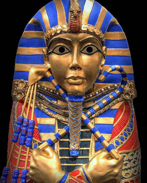 Egypt Poster featuring the digital art Golden Inner Sarcophagus Of A Pharaoh by Daniel Hagerman