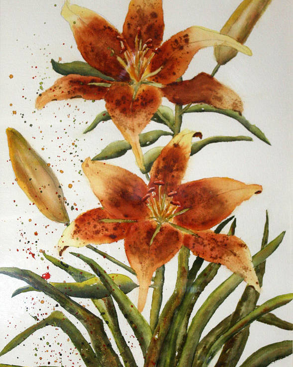 Lilies Poster featuring the painting Golden Lilies by Patricia Novack