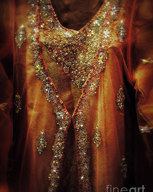 Dress Poster featuring the photograph Golden Oriental Dress by Mythja Photography