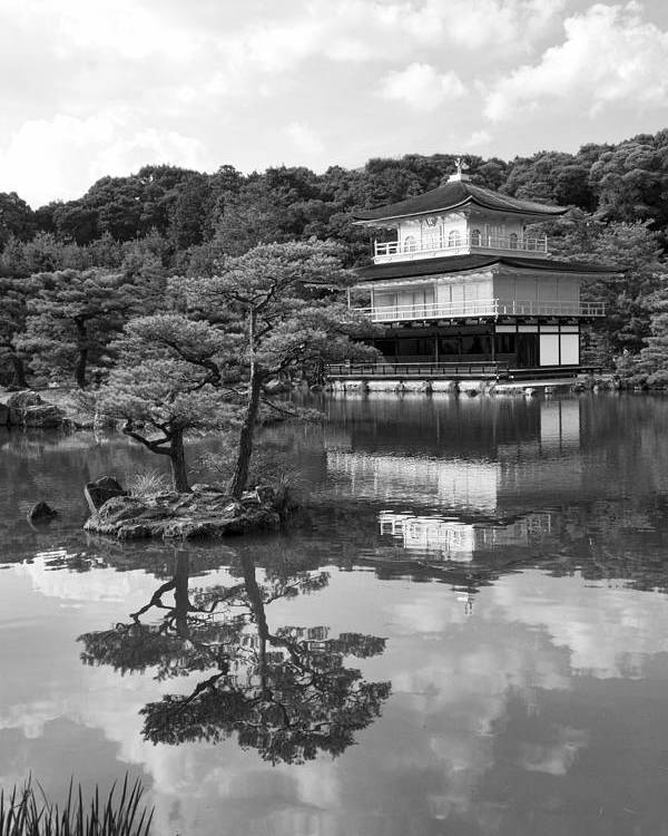 Black And White Poster featuring the photograph Golden Pagoda In Kyoto Japan by David Smith