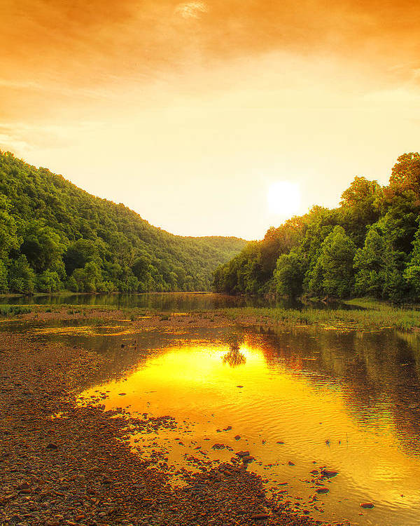 Sunset Poster featuring the photograph Golden Sunset On Buffalo River by Bill Tiepelman