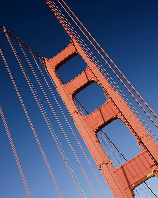 Golden Gate Bridge Poster featuring the photograph Golden Tower II Lh by Darren Patterson