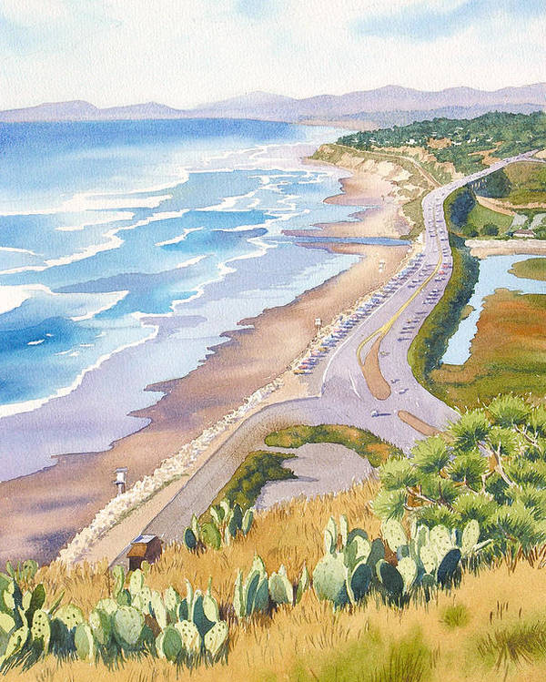 Pacific Coast Highway Poster featuring the painting Golden View From Torrey Pines by Mary Helmreich