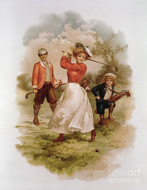 Playing; Golfers; Golfer; Player; Players; Male; Female; Couple; Child; Boy; Caddy; Family; Costume; Sport; Pastimes; Leisure; Outdoors; Game; Woman Golfer; Golf Poster featuring the painting Golfing by Ellen Hattie Clapsaddle