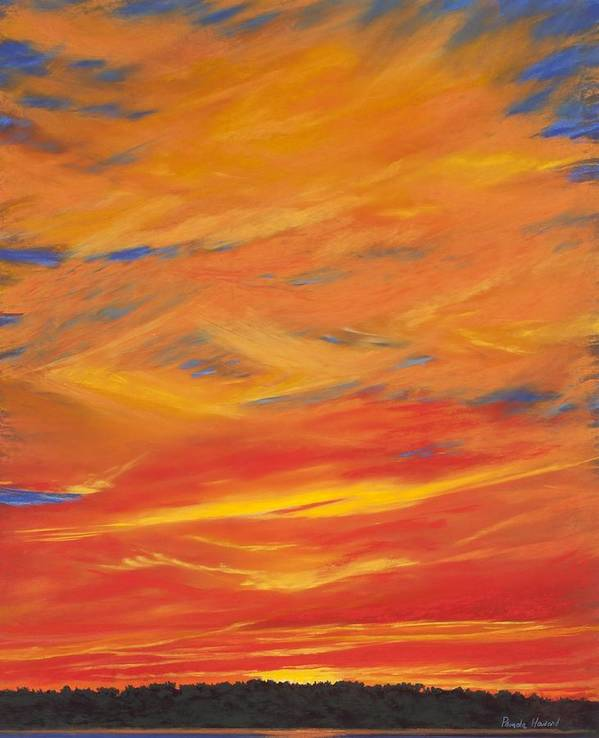 Sheer Clouds On Fire Canvas Print Poster featuring the painting Gooseberry Point Skyfire by Pamela Heward