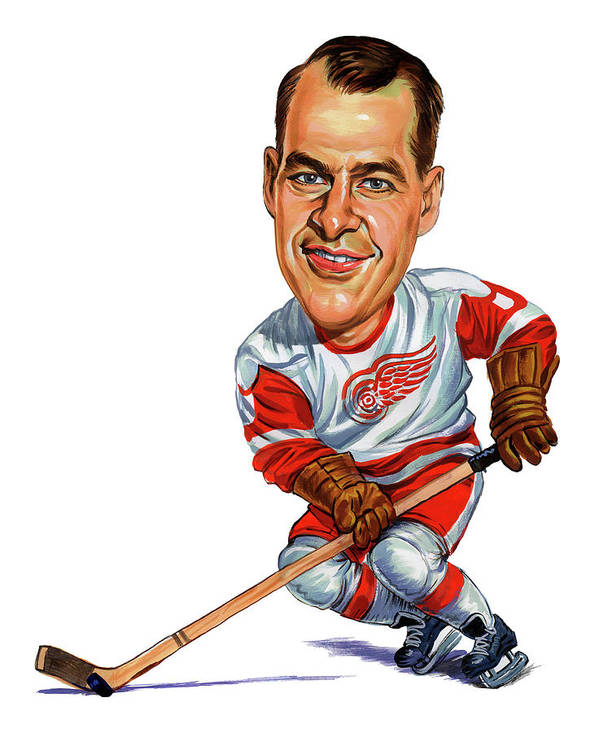 Hockey Poster featuring the painting Gordie Howe by Art