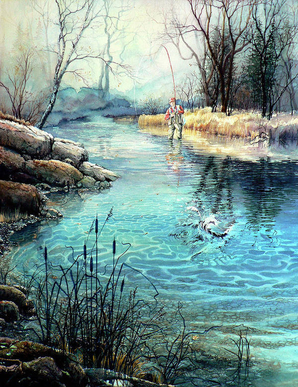 Fly Fishing Poster featuring the painting Gotcha by Hanne Lore Koehler
