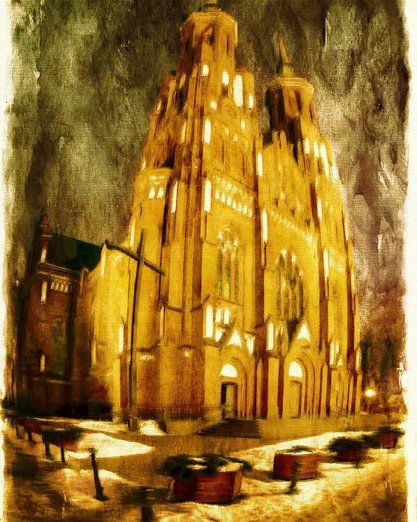 Architecture Poster featuring the digital art Gothic Cathedral by Jaroslaw Grudzinski