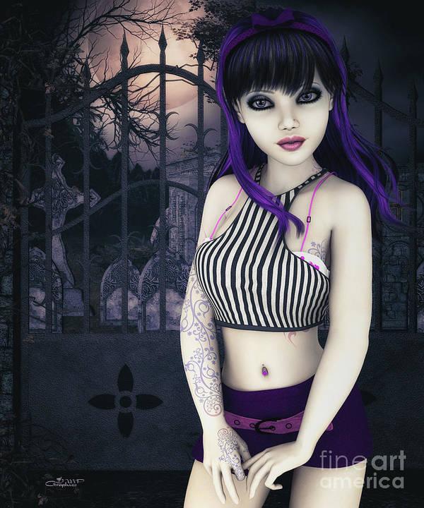 3d Poster featuring the digital art Gothic Temptation by Jutta Maria Pusl