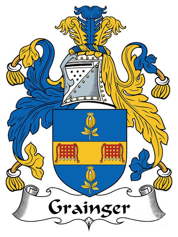 Grainger Poster featuring the digital art Grainger Coat Of Arms Irish by Heraldry