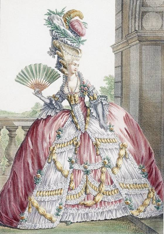 Fashion Poster featuring the drawing Grand Robe A La Francais, Engraved by Claude Louis Desrais