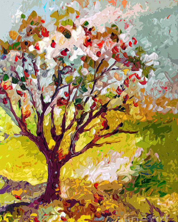 Trees Poster featuring the painting Grandmas Apple Tree Modern Art by Ginette Callaway