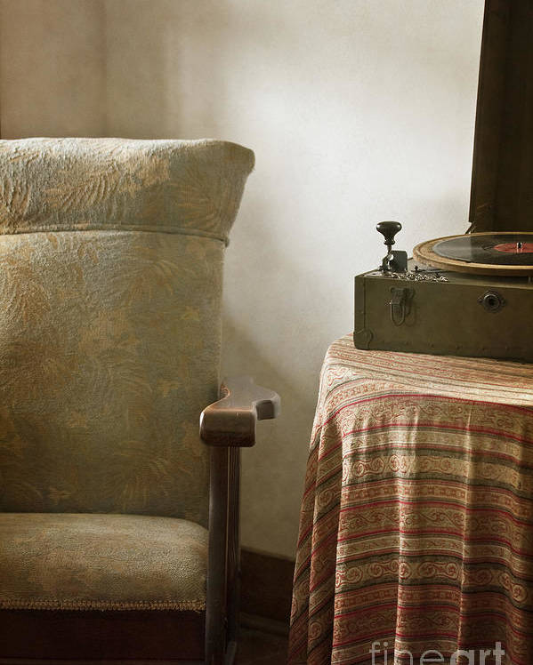 Vintage; Antique; Chair; Interior; Still Life; Living Room; Sitting Room; Casual; Indoors; Room; Furniture; Nobody; Empty; Table; Comfort; Cloth; Record; Record Player; Music; Sound; 1940s; Walls; Dirty; Old Poster featuring the photograph Grandma's Chair by Margie Hurwich