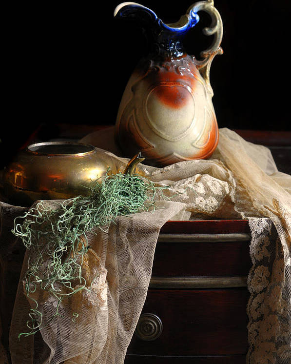 Still Life Poster featuring the photograph Grandmother's Lace Cloth by Diana Angstadt