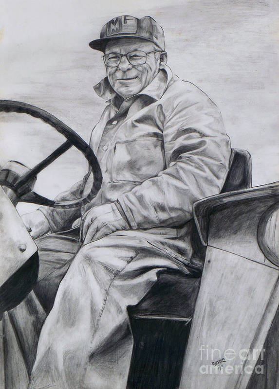 Tractor Poster featuring the drawing Grandpa by Joy Nichols