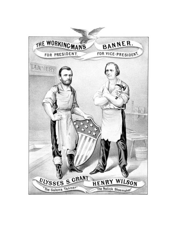Ulysses S Grant Poster featuring the drawing Grant And Wilson 1872 Election Poster by War Is Hell Store
