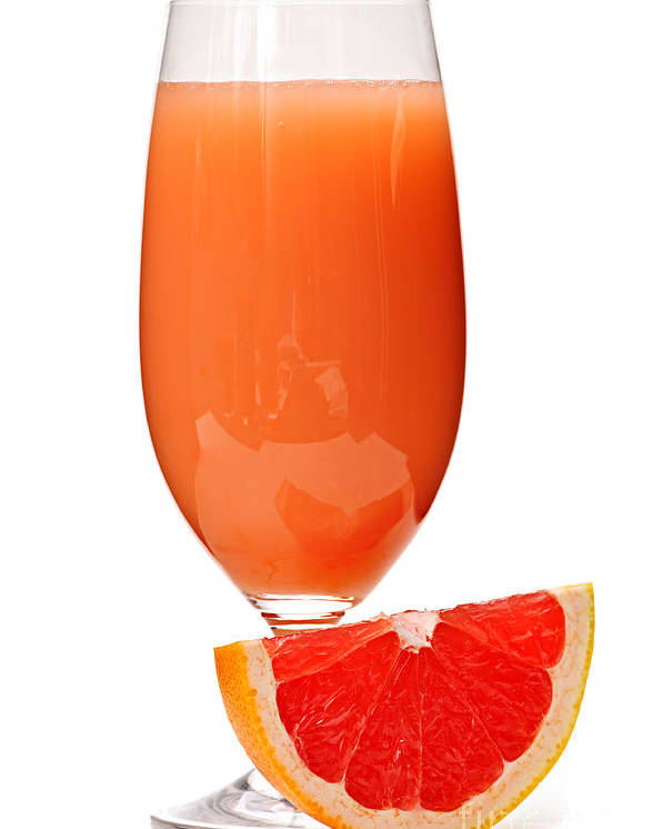 Grapefruit Poster featuring the photograph Grapefruit Juice In Glass by Elena Elisseeva