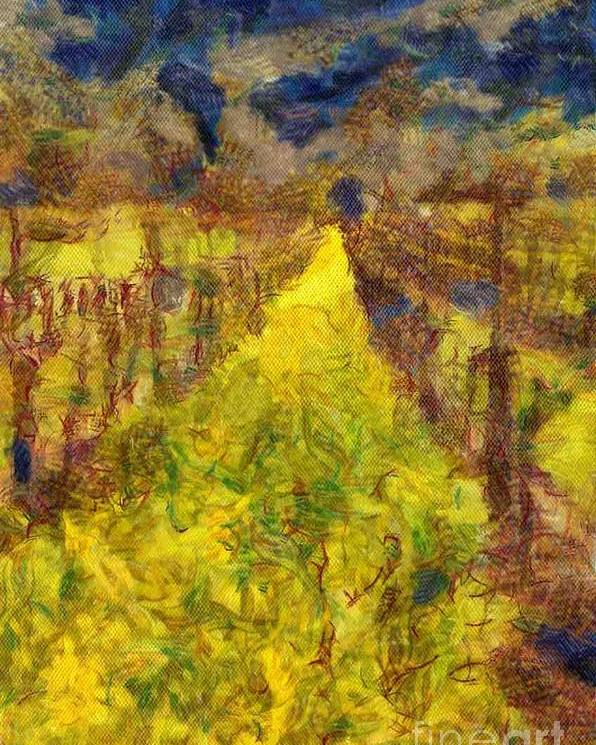 Winery Poster featuring the digital art Grapevines And Mustard by Alberta Brown Buller